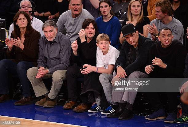 Guest Judd Hirsch Norman Reedus Mingus Reedus Jimmy Smits and guest attend the Chicago Bulls vs New York Knicks game at Madison Square Garden on...
