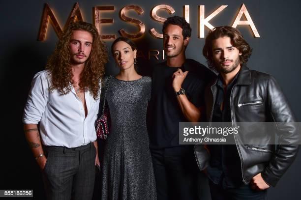 Guest Kenza Saldoun El Glaoui Diego Sadoun El Glaoui and Renan Pacheco attend Messika cocktail as part of the Paris Fashion Week Womenswear...