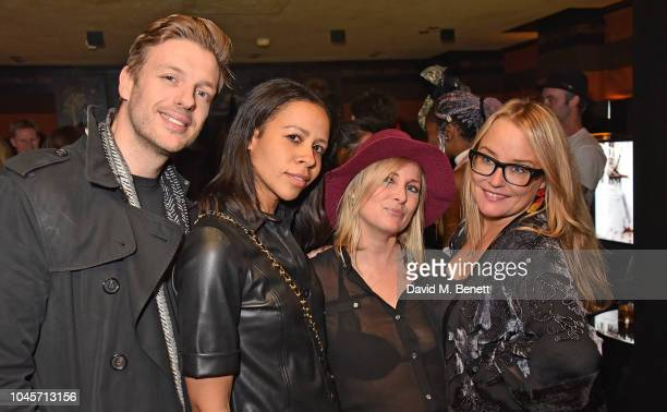 Guest Lalla Bronshtein Dawn Collins and Erica Bergsmeds attend a private view of Free Woman An Exhibition by Diana Gomez at Blakes Hotel on October 4...