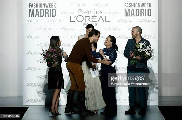 Guest Laura Sanchez Antonio Navas Cuca Solana and Juan Duyos attend L'Oreal Award during Mercedes Benz Fashion Week Madrid Fall/Winter 2013/14 at...