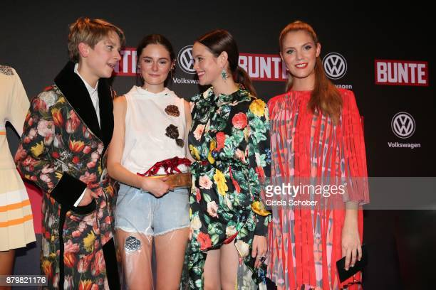 Stylist Leandra Bendorf Lea van Acken Style Icon of the year with award Emilia Schuele Viviane Geppert during the New Faces Award Style 2017 at 'The...