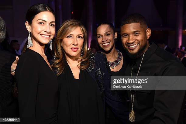 Guest, Lorraine Schwartz, Grace Miguel, and Usher attend Angel Ball 2015 hosted by Gabrielle's Angel Foundation at Cipriani Wall Street on October...