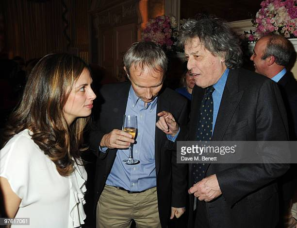 Guest, Luke Johnson and Tom Stoppard attend the Nancy Mitford 'Wigs on the Green' reissue party held by Catherine Ostler and the Dowager Duchess of...