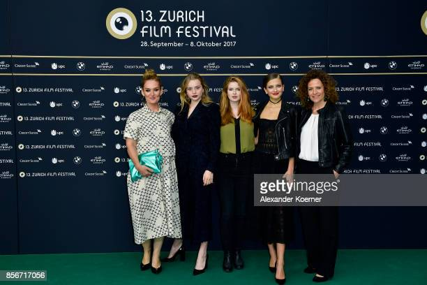 Guest Luna Wedler Lisa Bruehlmann Zoe Pastelle Holthuizen and Regula Grauwiller attend the 'Blue My Mind' photocall during the 13th Zurich Film...