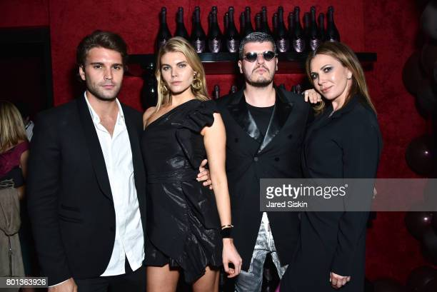 Guest Maryna Linchuk Eli Mizrahi and Inga Rubenstein attend The Dom Perignon Vintage Trinity Launch Party at 17 Irving Place on June 22 2017 in New...