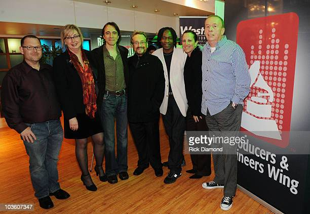 Guest Maureen Downey Guest Phil Ramone Jerry Douglass Lizzy Moore and Guest attend the PE Wing Rock My Soul Event at The Villiage Studios on February...