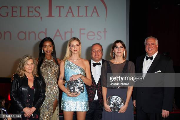 A guest Maylin Aguirre Chiara Ferragni Pascal Vicedomini Elisa Amoruso and Nick Vallelonga attend the 2020 Los Angeles Italia Film Fashion And Art...