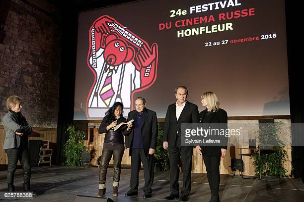 Guest Mei Chen Chalais Robert Hossein Aleksei Guskov and Candice Patou attend the tribute to Robert Hossein during Russian Film Festival on November...