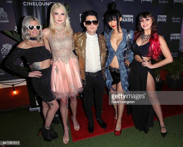 Guest model Courtney Anne Mitchell actor Corey Feldman actress Bai Ling and singer Soheila Clifford attend the Corbin Nash premiere screening at The...