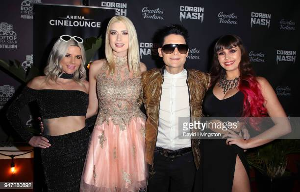 Guest model Courtney Anne Mitchell actor Corey Feldman and singer Soheila Clifford attend the Corbin Nash premiere screening at The Montalban on...