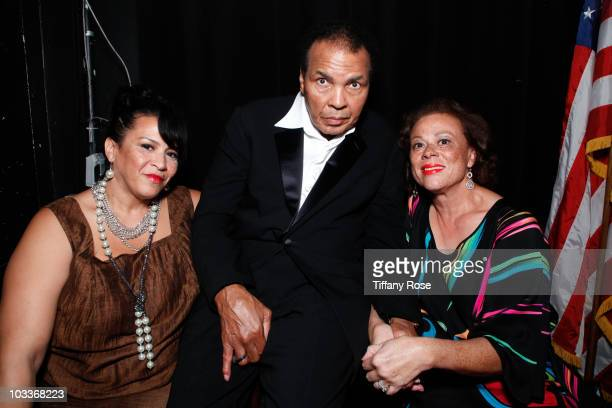 A guest Mohammad Ali and Lonnie Ali attend the 10th Annual Harold Pump Foundation Gala on August 12 2010 in Century City California