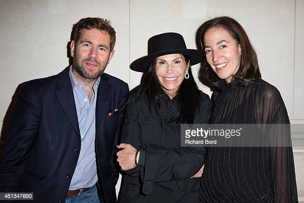 A guest Mouna Ayoub and Chief Curator of Fashion and Textiles at Les Arts Decoratifs Pamela Golbin attend the Dries Van Noten Exhibition Party as...