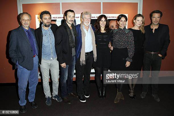 A guest Nader Boussandel Michael Cohen Patrick Prejean Gwendolyn Gourvenec Anne Charrier a guest and Nicolas Bedos attend the l'Invitation Paris...