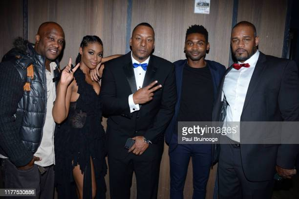 Guest Nafessa Williams Deon Taylor Frankie Smith and Johann Sebastian Tate attend Screen Gems Hosts The After Party For Black And Blue at The Skylark...