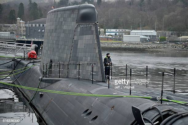 Guest of honour and submarines sponsor Lady Zambellas attends a ceremony as Astute Class submarine HMS Artful is commissioned into the Royal Navy on...