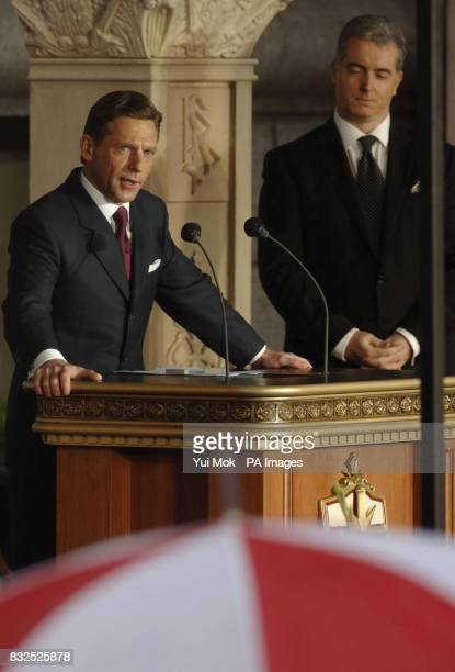 Guest of honour David Miscavige Chairman of the Board of the Religious Technology Centre and leader of the Scientology religion speaking during the...