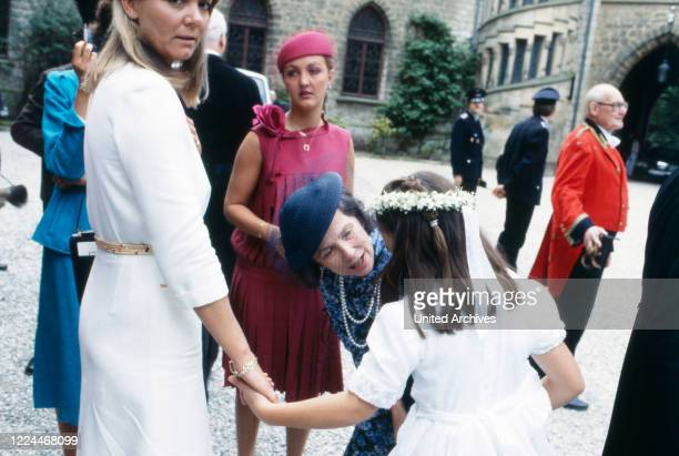 Guest of the wedding of heir to the throne Ernst August von Hanover with Chantal Hochuli at Marienburg castle near Hanover Germany 1981