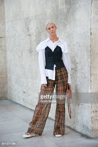 A guest on day 2 of Paris Womens Fashion Week Spring/Summer 2017 on September 28 2016 in Paris France
