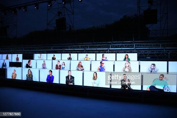 Guest on digital screen attend the Balmain Womenswear Spring/Summer 2021 show as part of Paris Fashion Week on September 30, 2020 in Paris, France.