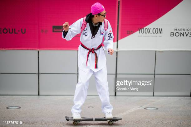 A guest on skateboard seen at the Hera Seoul Fashion Week 2019 F/W at Dongdaemun Design Plaza at Dongdaemun Design Plaza on March 23 2019 in Seoul...