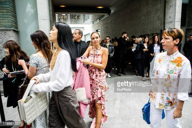 Guest outside Armani at Milan Fashion Week Milano Italy on September 19 2019 Italy