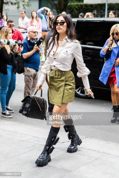 Guest outside Armani at Milan Fashion Week, Milano, Italy, on September 19 2019, Italy
