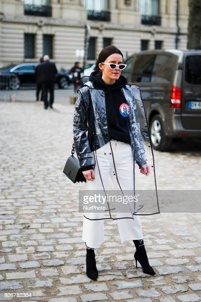 A guest outside Balmain is seen during Paris Fashion Week Womenswear Fall/Winter 2018/2019 Day Five on 2 March 2018 in Paris France
