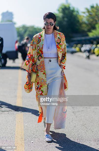A guest outside Diesel during the Milan Men's Fashion Week Spring/Summer 2017 on June 20 2016 in Milan Italy