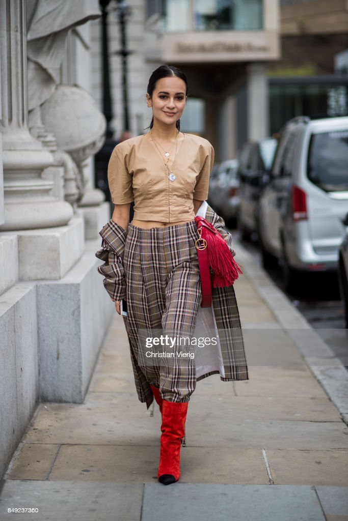 A guest outside Emilia Wickstead during London Fashion Week September 2017 on September 18, 2017 in London, England.