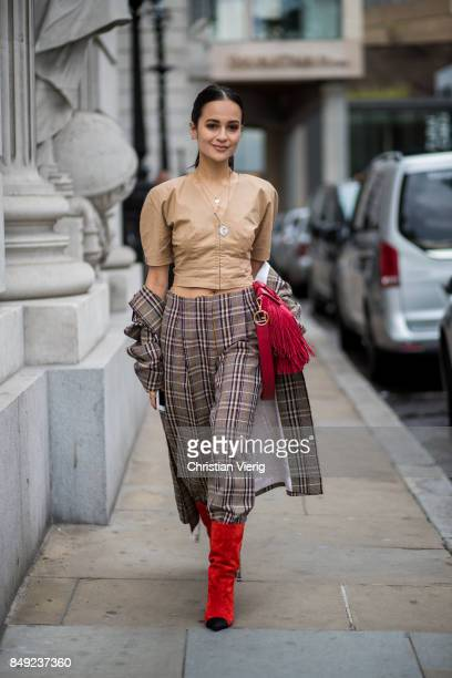 A guest outside Emilia Wickstead during London Fashion Week September 2017 on September 18 2017 in London England