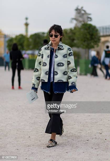 A guest outside Jacquemus on September 27 2016 in Paris France
