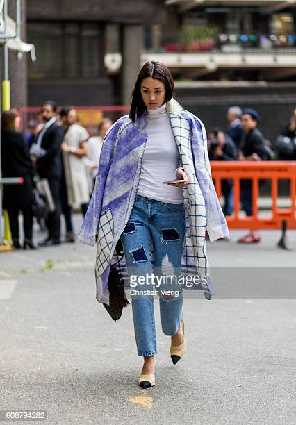 A guest outside Joseph during London Fashion Week Spring/Summer collections 2017 on September 19 2016 in London United Kingdom