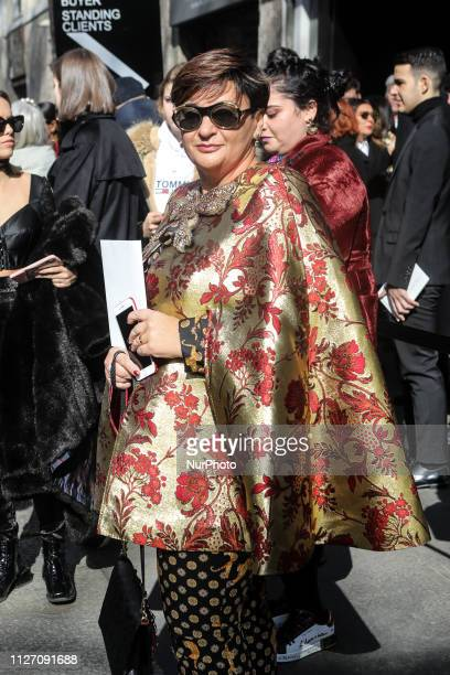 Guest outside of the Dolce e Gabbana fashion show during the Milan Fashion Week on February 24 2019