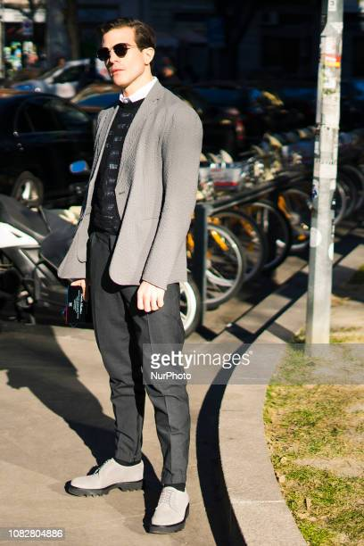Guest outside of the Emporio Armani fashion show during the Milan Fashion Week Autumn/Winter 2019/20 on January 14 2019 in Milan Italy