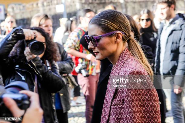 Guest outside of the Etro fashion show during the Milan Fashion Week on February 22 2019