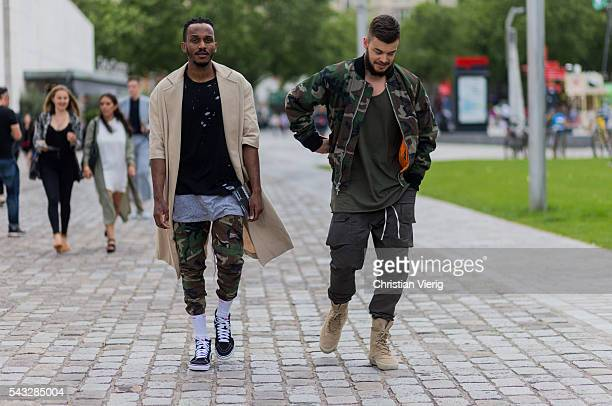 A guest outside Off White during the Paris Fashion Week Menswear Spring/Summer 2017 on June 26 2016 in Paris France