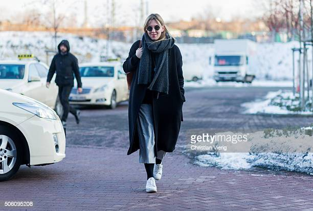 A guest outside Perret Schaad during the MercedesBenz Fashion Week Berlin Autumn/Winter 2016 on January 21 2016 in Berlin Germany