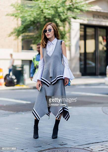 A guest outside Rebecca Minkoff on September 10 2016 in New York City