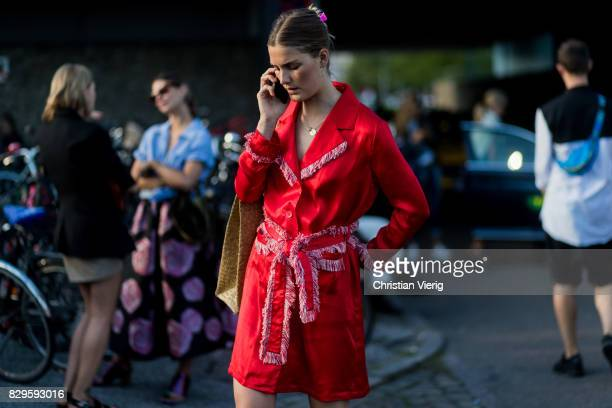 A guest outside Saks Potts on August 10 2017 in Copenhagen Denmark