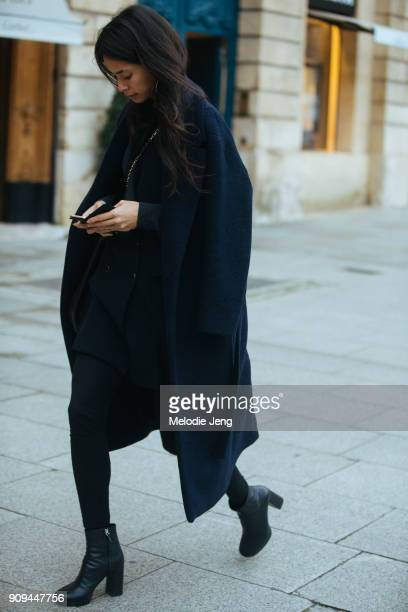 A guest outside the Ulyana Sergeenko show at Place Vendome on January 23 2018 in Paris France