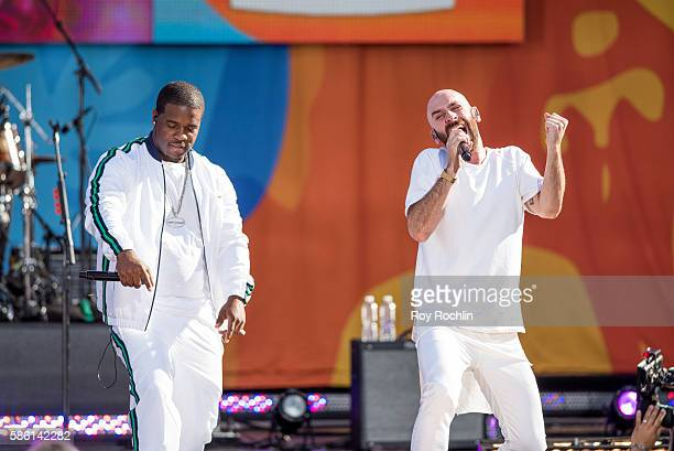 Guest performer A$AP Ferg with vocalist Sam Harris on stage as X Ambassadors Perform On ABC's Good Morning America at SummerStage at Rumsey Playfield...