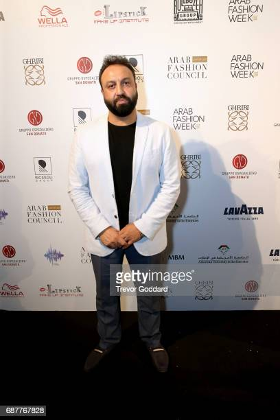 Guest pose at attend the Arab Fashion Week Ready Couture Resort 2018 Gala Dinner on May 202017 at Armani Hotel in Dubai United Arab Emirates