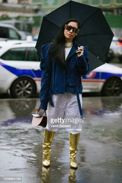 Guest poses after the Stella McCartney show at the Opera Garnier during Paris Fashion Week Womenswear Fall/Winter 2020/2021 on March 02, 2020 in...