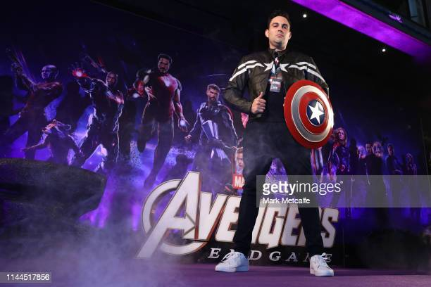A guest poses as he attends the Sydney screening of Avengers End Game at Hoyts Entertainment Quarter on April 23 2019 in Sydney Australia