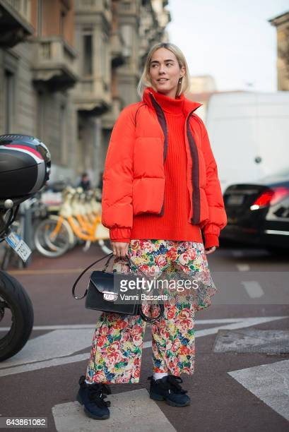 A guest poses before the Alberta Ferretti show during Milan Fashion Week Fall/Winter 2017/18 on February 22 2017 in Milan Italy