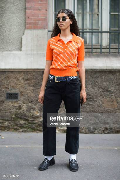 A guest poses before the Paul Smith show at the Lycee Carnot during Paris Fashion Week Menswear SS18 on June 25 2017 in Paris France Photo by Vanni...