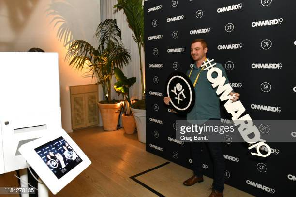A guest poses in the GIF booth at ONWARD19 The Future Of Search Day 2 Partner Reception at The Times Square EDITION on October 29 2019 in New York...