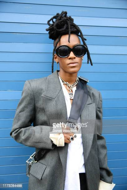 Guest poses outside of the Laquan Smith show during New York Fashion Week on September 08, 2019 in New York City.