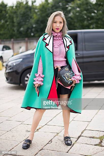 A guest poses wearing a Gucci total look before the Gucci show during Milan Fashion Week Spring/Summer 2017 on September 21 2016 in Milan Italy