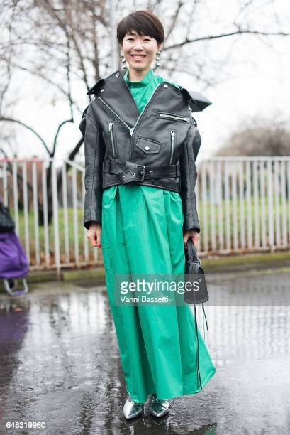 A guest poses wearing Balenciaga after the Balenciaga show at the Centre Champerret during Paris Fashion Week Womenswear FW 17/18 on March 5 2017 in...